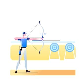 Atleta di tiro con l'arco isolato su bianco