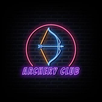 Insegne al neon con logo del club di tiro con l'arco