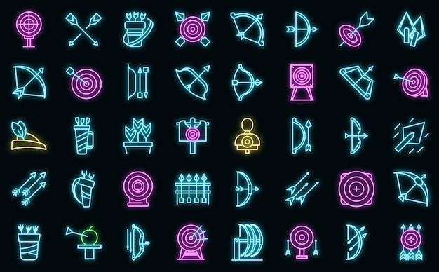 Le icone della concorrenza di tiro con l'arco hanno impostato il vettore del profilo. obiettivo bersaglio. obiettivo scopo tiro con l'arco