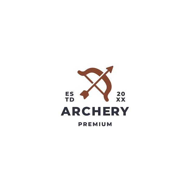 Concetto di marchio di tiro con l'arco con arco lungo e simbolo della freccia