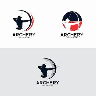 Vettore di disegno del modello di logo di tiro con l'arco, emblema, concetto di design, simbolo creativo, icona