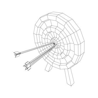 Obiettivo di tiro con l'arco. le frecce colpiscono il concetto di obiettivo dell'obiettivo rotondo. illustrazione vettoriale di wireframe low poly mesh