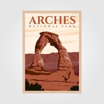 Disegni vintage dell'illustrazione del manifesto di avventura all'aperto del parco nazionale di arches
