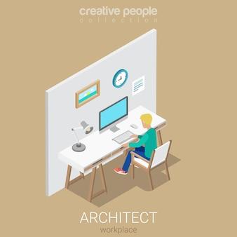 Architetto designer artista scrittore copywriter sul posto di lavoro piatto isometrico