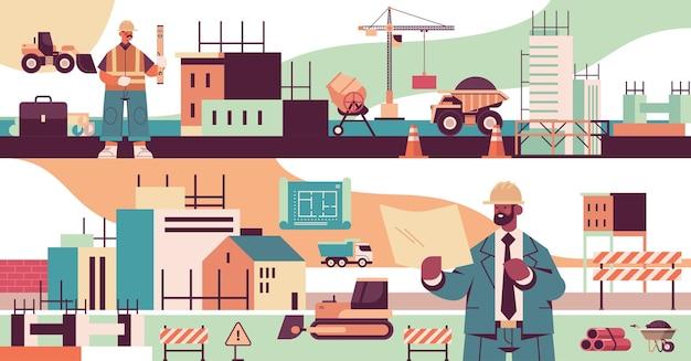 Architetto e ingegnere in uniforme mescolano i costruttori di gare che lavorano in cantiere