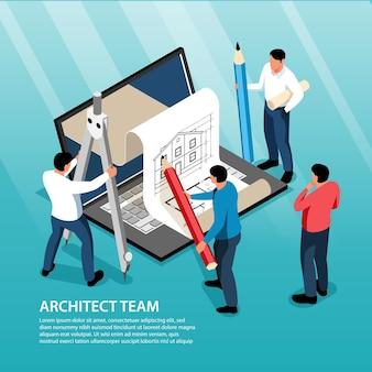 Team di architetti isometrici con grandi strumenti per la stesura di quaderni e piccoli personaggi umani