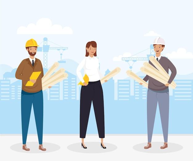Architetti e ingegneri persone con elmetti e piani di progettazione della città di ristrutturazione edilizia e tema di lavoro illustrazione vettoriale
