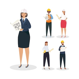 Architetti e ingegneri persone con caschi e piani scenografia di ristrutturazione edilizia e tema di lavoro illustrazione vettoriale
