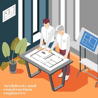 Illustrazione isometrica del lavoro d'ufficio degli ingegneri di architectura