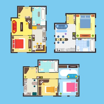 Piano di appartamento architettonico con mobili vista dall'alto su sfondo blu
