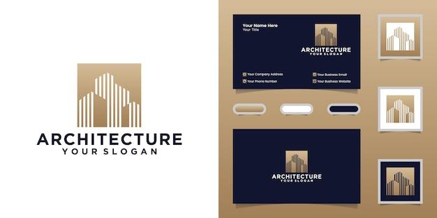 Logo dell'edificio architettonico e ispirazione per biglietti da visita