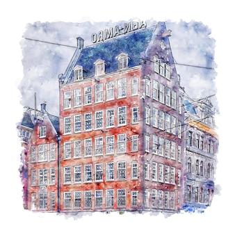 Illustrazione disegnata a mano di schizzo dell'acquerello di amsterdam paesi bassi di architettura