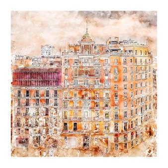 Illustrazione disegnata a mano di schizzo dell'acquerello di barcellona spagna di architettura