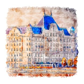Illustrazione disegnata a mano di schizzo dell'acquerello di budapest di architettura
