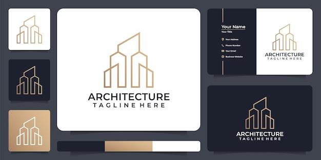 Architettura che costruisce logo astratto design con stile line art