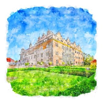 Architettura castello francia illustrazione disegnata a mano di schizzo ad acquerello