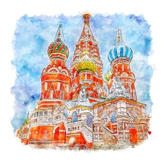 Illustrazione disegnata a mano di schizzo dell'acquerello della russia del castello di architettura