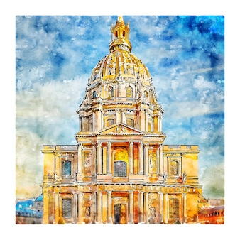 Illustrazione disegnata a mano di schizzo dell'acquerello della cattedrale di parigi francia di architettura
