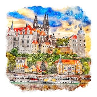 Architettura città germania schizzo ad acquerello illustrazione disegnata a mano