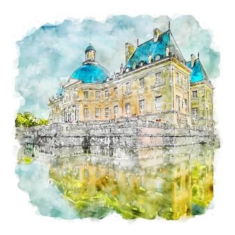 Architettura francia illustrazione disegnata a mano di schizzo ad acquerello