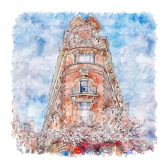 Illustrazione disegnata a mano di schizzo dell'acquerello di francia di architettura