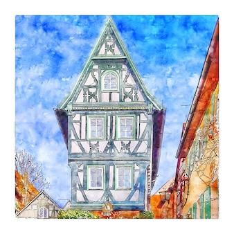 Illustrazione disegnata a mano di schizzo dell'acquerello della germania di architettura