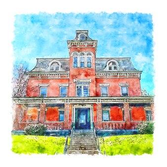 Illustrazione disegnata a mano di schizzo dell'acquerello della casa di architettura francia