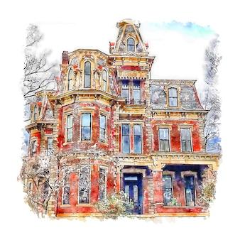 Architettura casa germania acquerello schizzo disegnato a mano