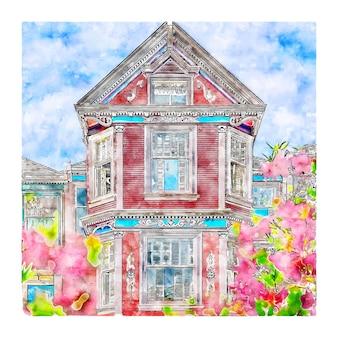 Illustrazione disegnata a mano di schizzo dell'acquerello della casa di architettura di san francisco
