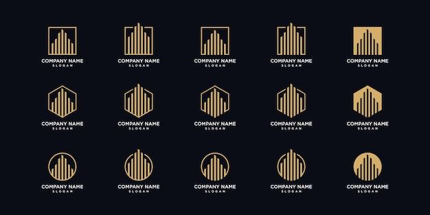 Pacchetto di progettazione di logo di architettura in stile art line