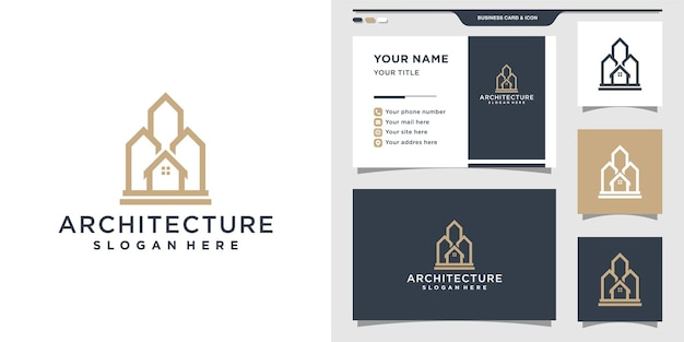 Modello di progettazione di logo di architettura con concetto di stile moderno e biglietto da visita.