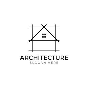 Progettazione del logo di architettura, modello di progettazione del marchio della società di costruzioni di vettore. modello di logo vettoriale di architetto e costruzione