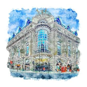 Illustrazione disegnata a mano di schizzo dell'acquerello di londra regno unito di architettura