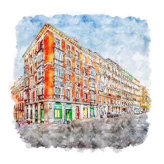 Illustrazione disegnata a mano di schizzo dell'acquerello di madrid spagna di architettura