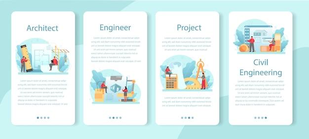 Set di banner per applicazioni mobili di architettura