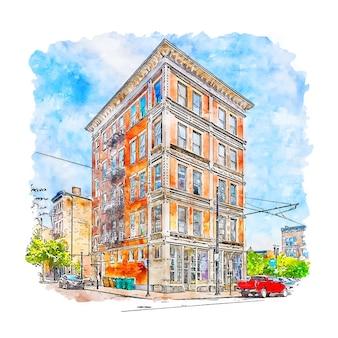 Illustrazione disegnata a mano di schizzo dell'acquerello di architettura ohio stati uniti