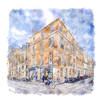 Illustrazione disegnata a mano di schizzo dell'acquerello di parigi francia di architettura