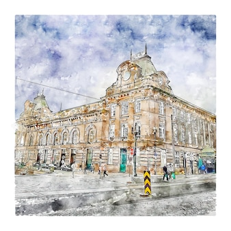 Illustrazione disegnata a mano di schizzo di architettura porto portogallo dell'acquerello