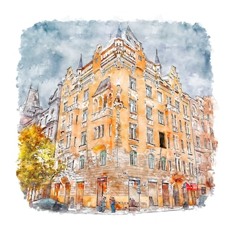 Illustrazione disegnata a mano di schizzo di architettura praga repubblica ceca acquerello