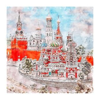 Illustrazione disegnata a mano di schizzo dell'acquerello della russia di architettura