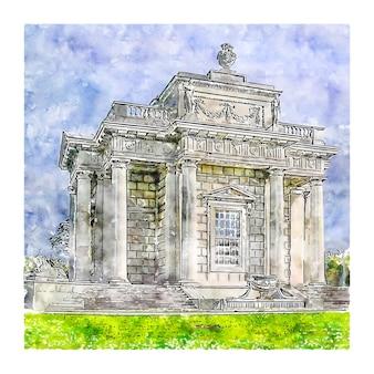 Illustrazione disegnata a mano di schizzo dell'acquerello della spagna di architettura