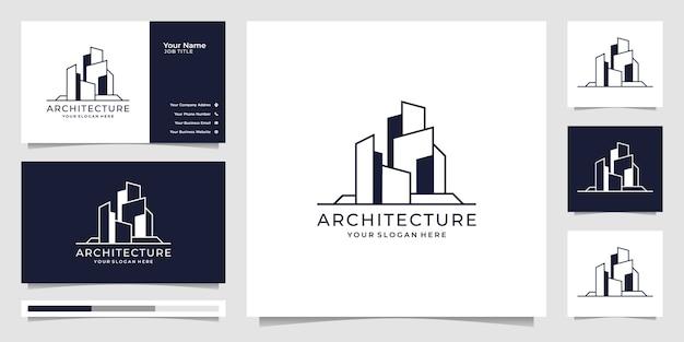 Modello di architettura, simboli di progettazione del logo immobiliare e biglietto da visita.