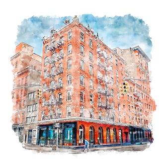 Illustrazione disegnata a mano di schizzo dell'acquerello di architettura tribeca new york city