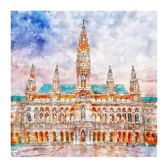 Illustrazione disegnata a mano di schizzo dell'acquerello di architettura vienna austria
