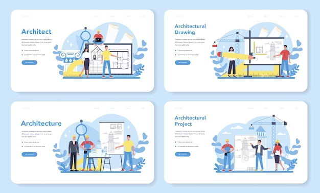Banner web di architettura o set di pagine di destinazione. idea di progetto di costruzione e lavori di costruzione. schema di casa, industria dell'ingegnere. attività di società di costruzioni.