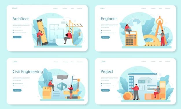 Banner web di architettura o set di pagine di destinazione