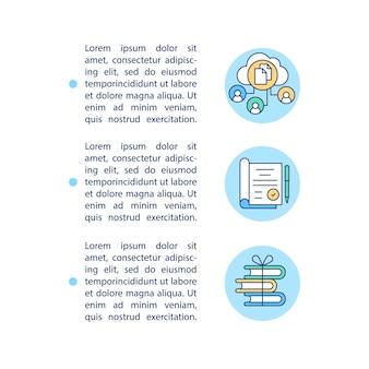 Archivia le icone della linea del concetto di documenti importanti con il modello di testo