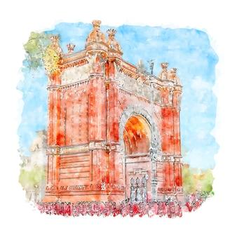 Illustrazione disegnata a mano di schizzo dell'acquerello di arco de triunfo de barcelona