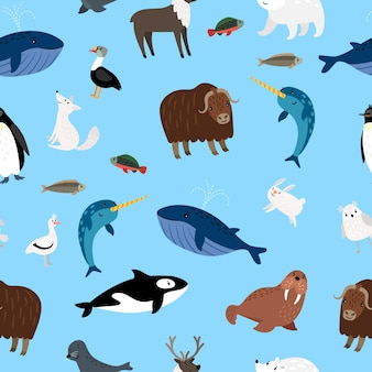 Modello di animali artici. illustrazione di vettore di carta da parati senza giunte dei caratteri animali dell'oceano e della neve di inverno