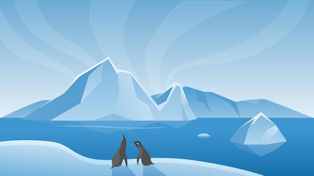 Scena naturale di vita marina del paesaggio artico antartico con iceberg e pinguini